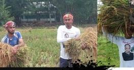 মেহনতি কৃষকের ধান কেঁটে মাড়াই করে দিল গোপালগন্জ সদর উপজেলা ছাত্রলীগ